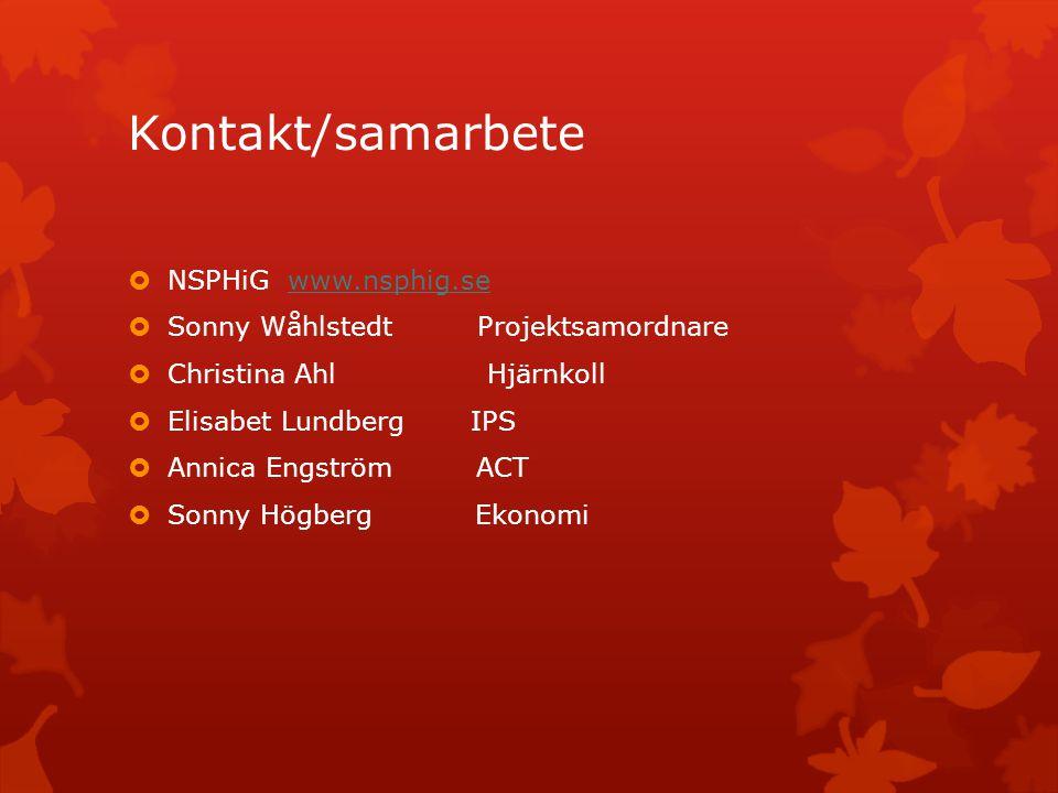 Kontakt/samarbete NSPHiG www.nsphig.se
