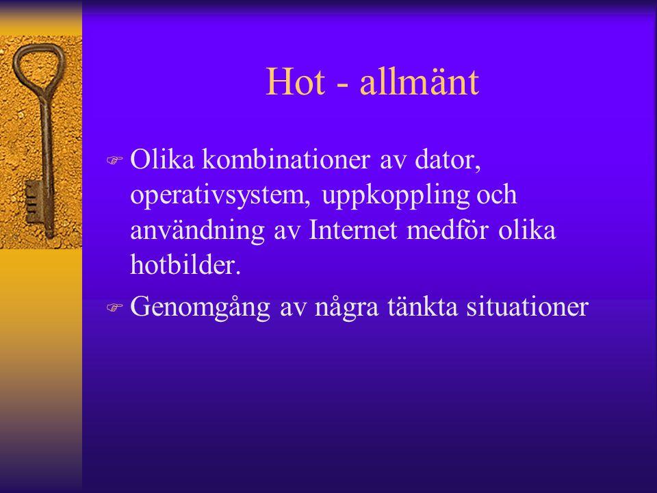 Hot - allmänt Olika kombinationer av dator, operativsystem, uppkoppling och användning av Internet medför olika hotbilder.