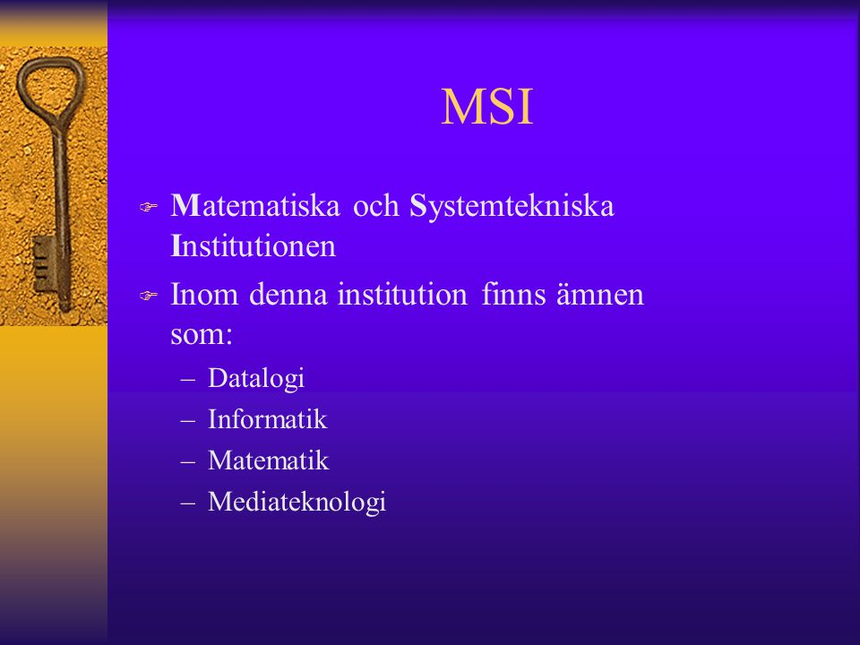 MSI Matematiska och Systemtekniska Institutionen