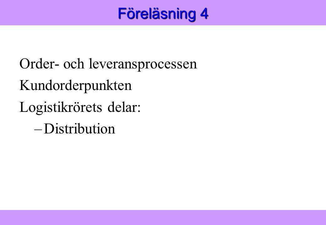 Föreläsning 4 Order- och leveransprocessen Kundorderpunkten Logistikrörets delar: Distribution