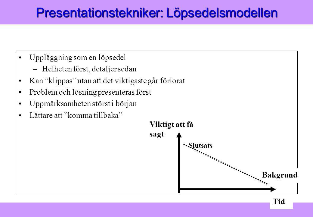 Presentationstekniker: Löpsedelsmodellen