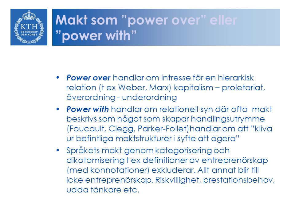 Makt som power over eller power with