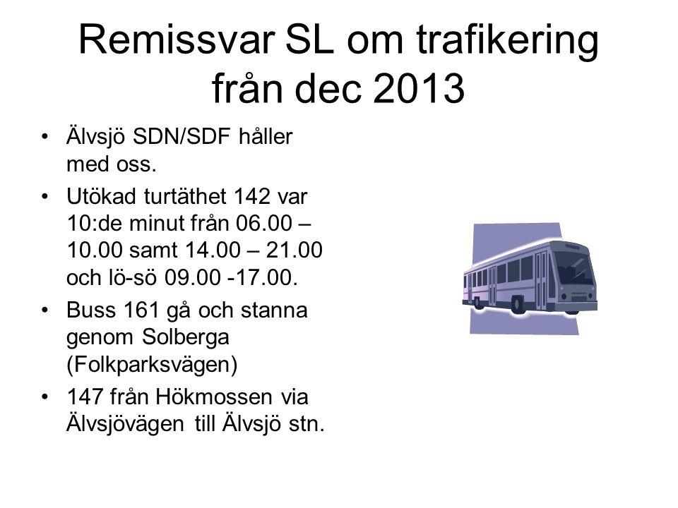 Remissvar SL om trafikering från dec 2013