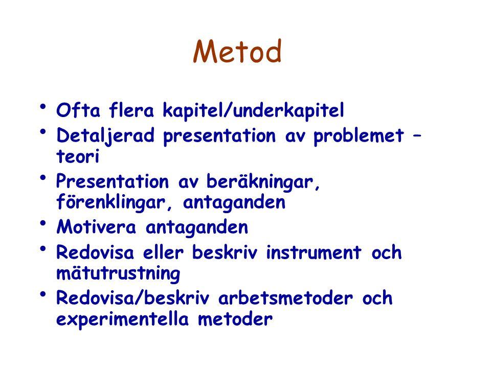 Metod Ofta flera kapitel/underkapitel