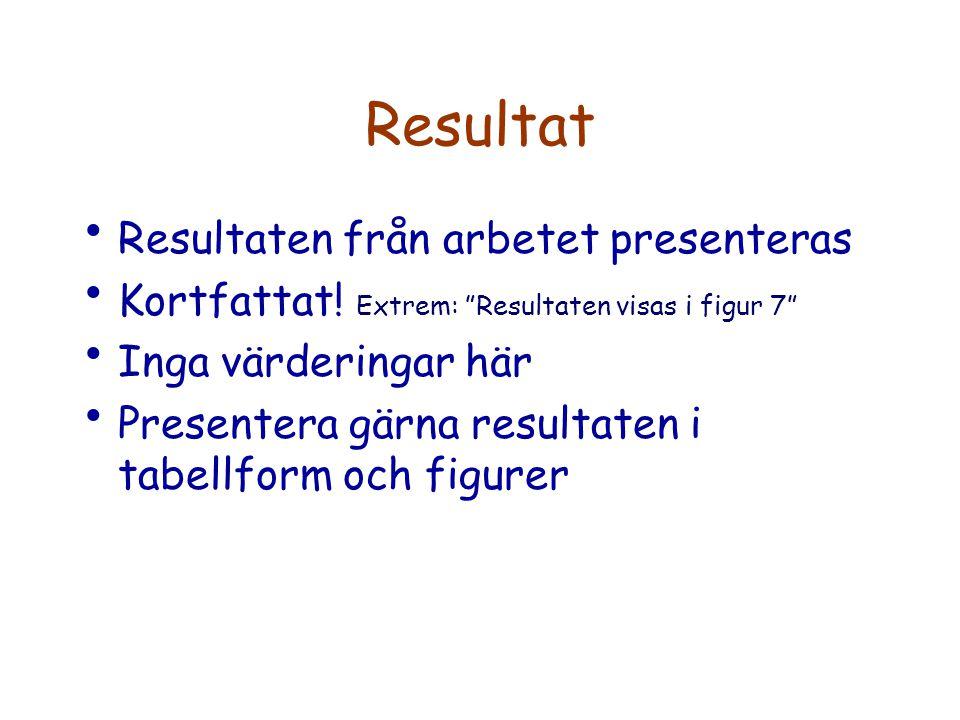 Resultat Resultaten från arbetet presenteras