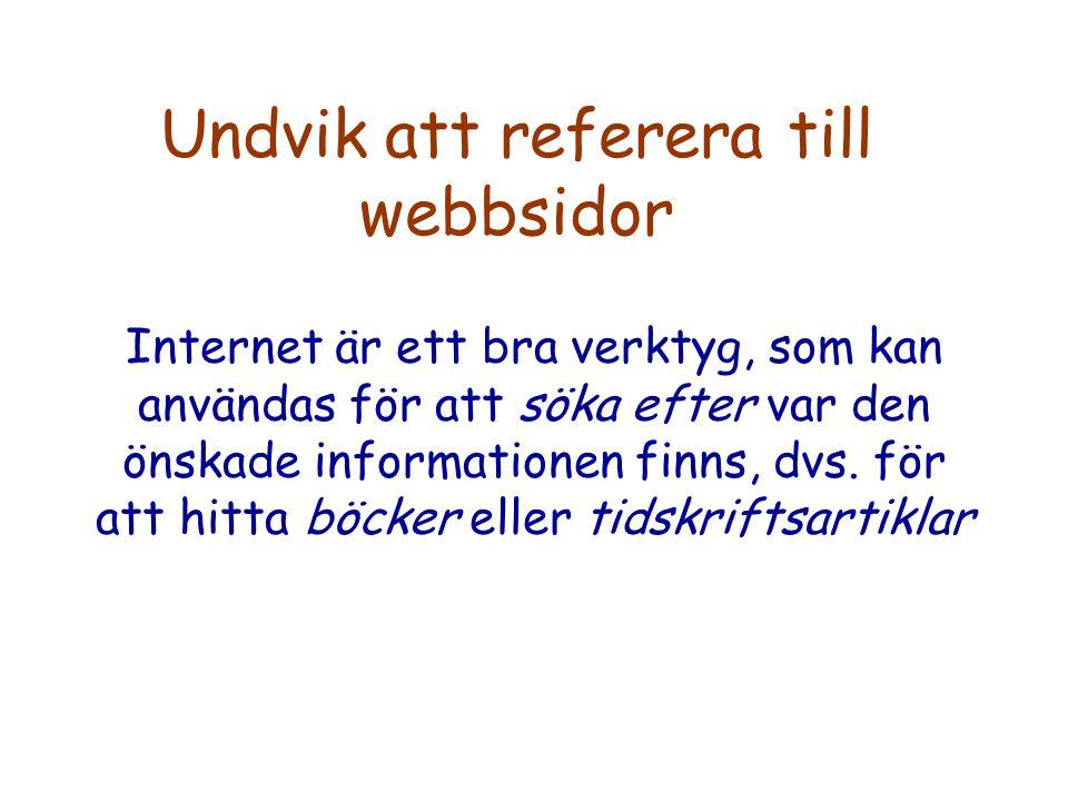 Undvik att referera till webbsidor