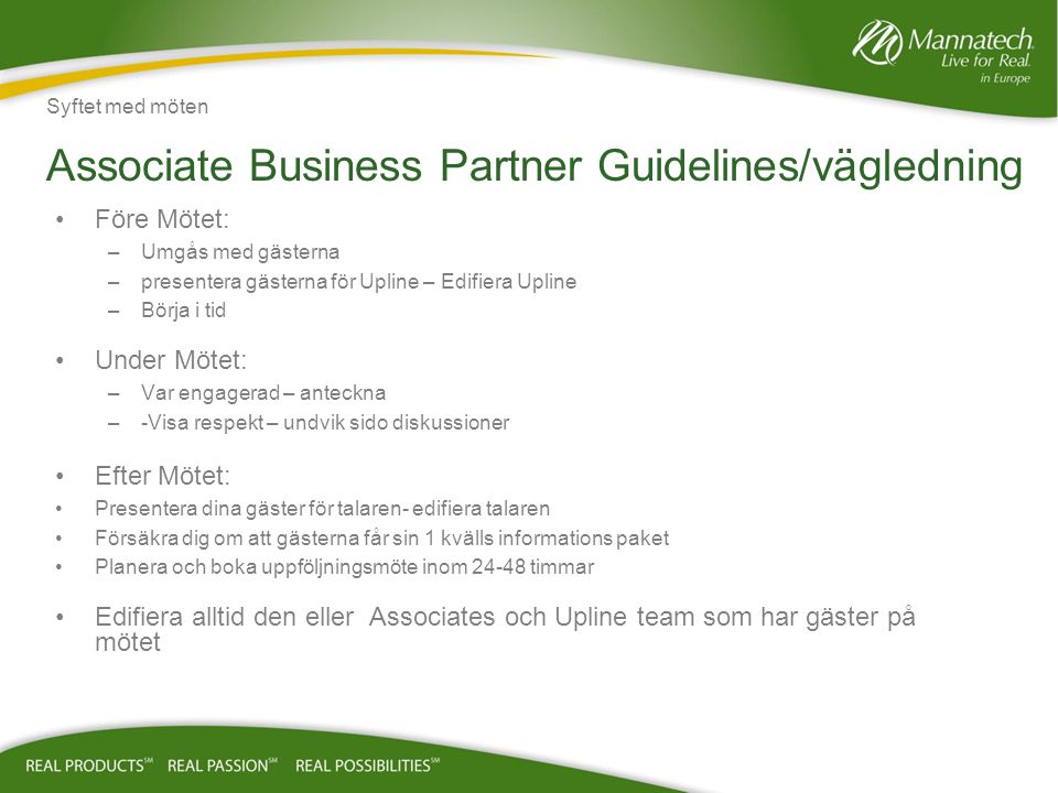 Associate Business Partner Guidelines/vägledning