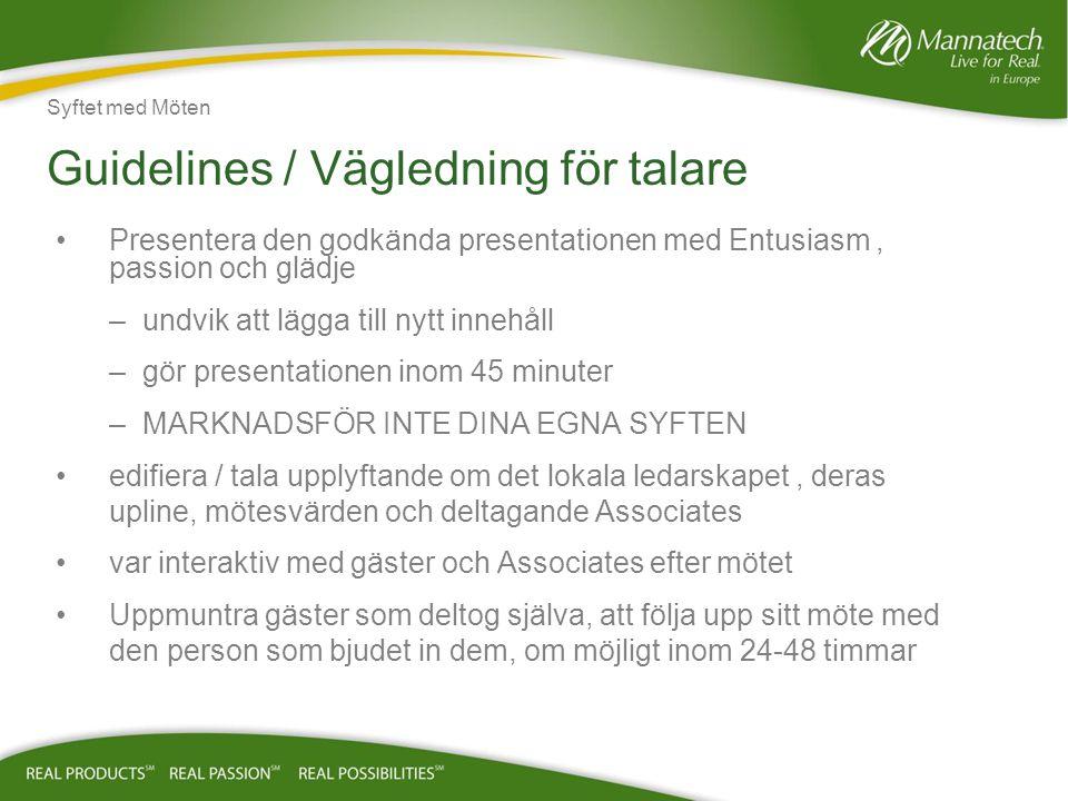 Guidelines / Vägledning för talare
