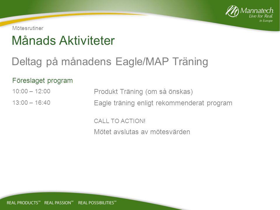 Månads Aktiviteter Deltag på månadens Eagle/MAP Träning