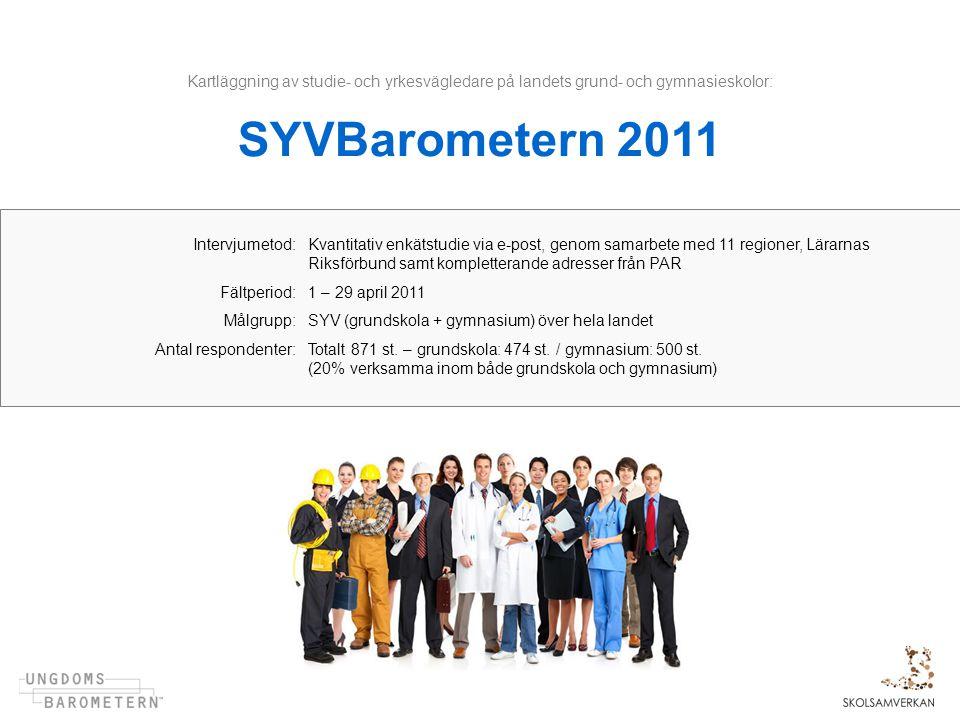 Kartläggning av studie- och yrkesvägledare på landets grund- och gymnasieskolor: SYVBarometern 2011