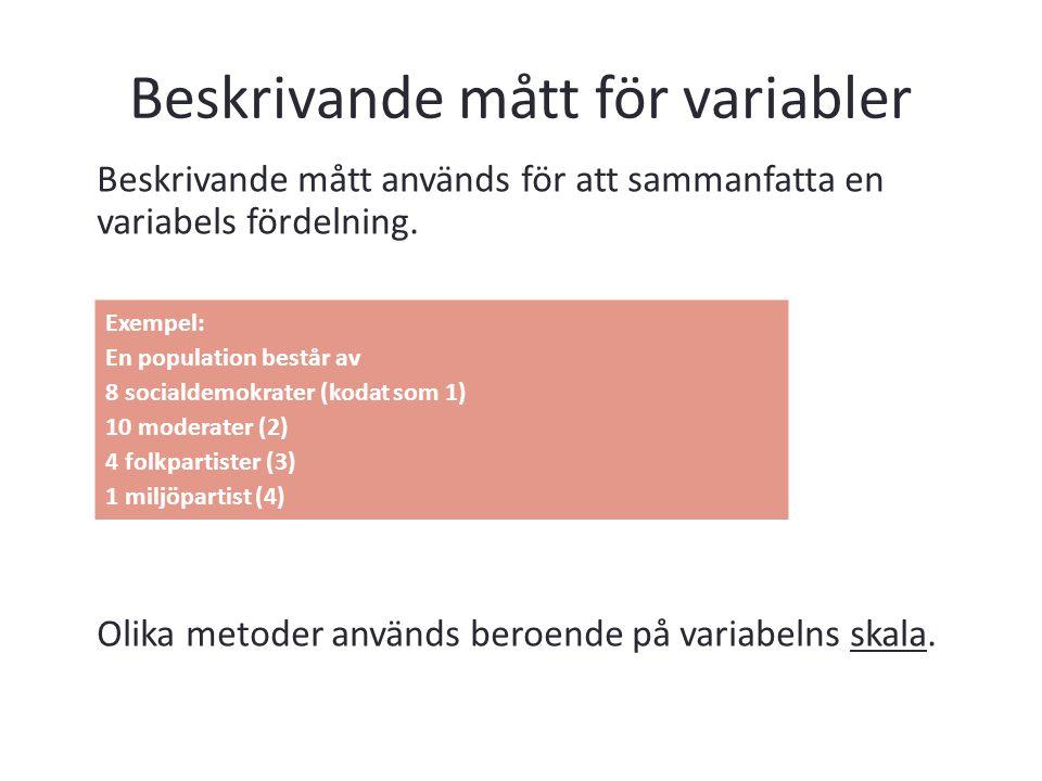 Beskrivande mått för variabler