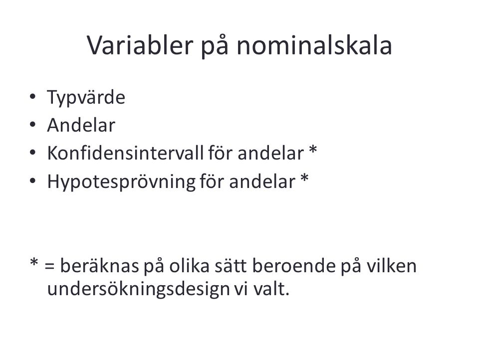 Variabler på nominalskala
