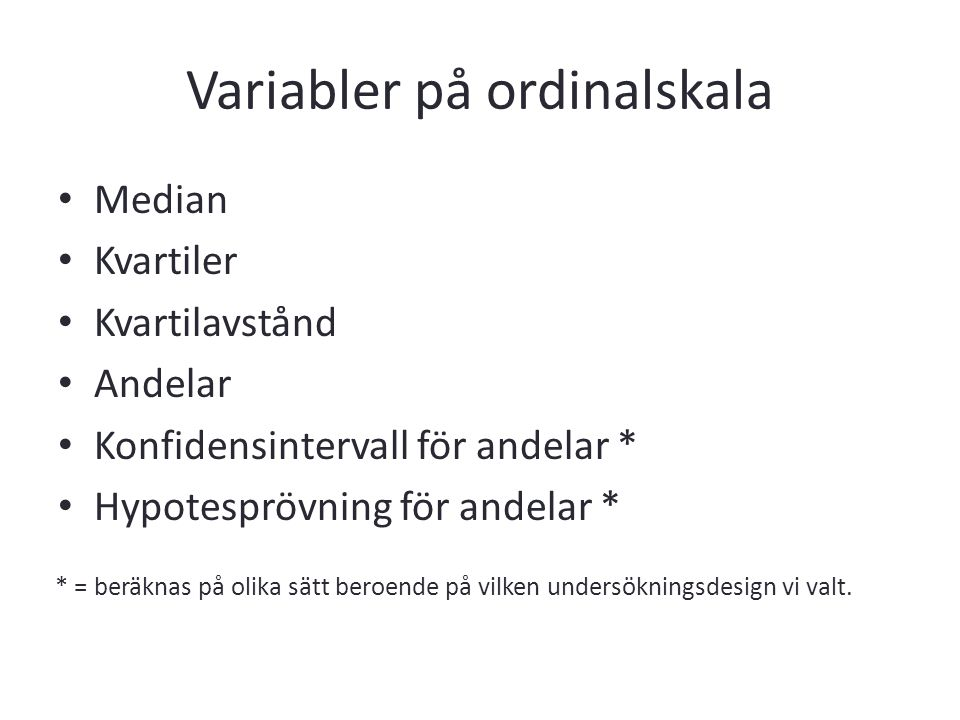 Variabler på ordinalskala