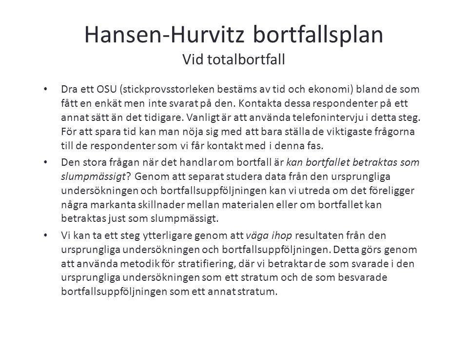 Hansen-Hurvitz bortfallsplan Vid totalbortfall