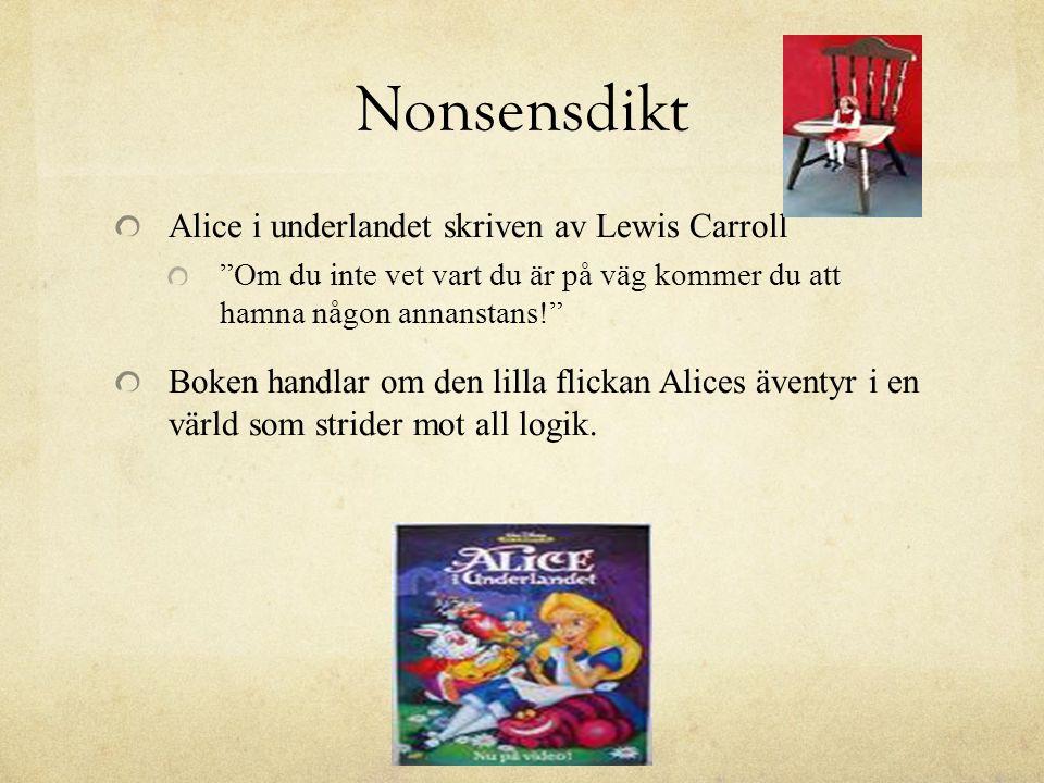 Nonsensdikt Alice i underlandet skriven av Lewis Carroll