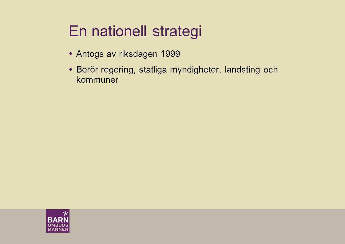 En nationell strategi Antogs av riksdagen 1999