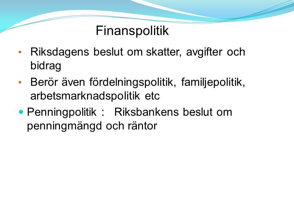 Finanspolitik Riksdagens beslut om skatter, avgifter och bidrag