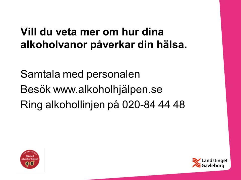 Vill du veta mer om hur dina alkoholvanor påverkar din hälsa.