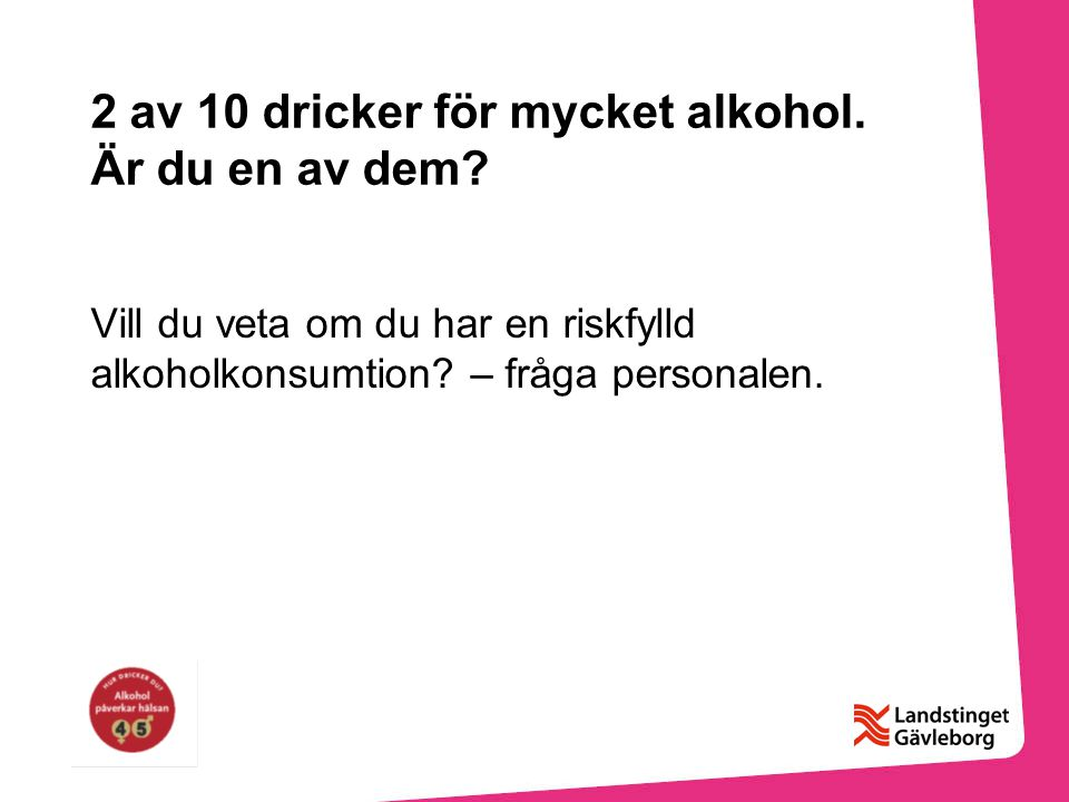 2 av 10 dricker för mycket alkohol. Är du en av dem