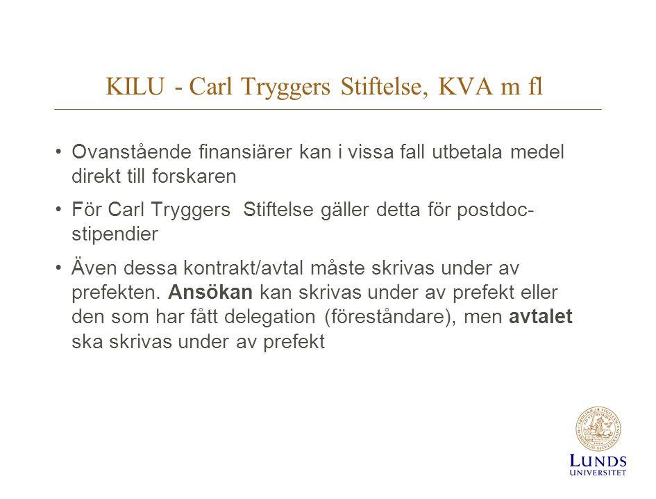 KILU - Carl Tryggers Stiftelse, KVA m fl