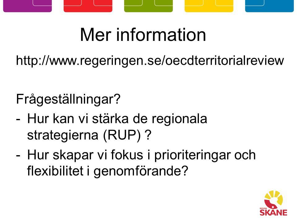 Mer information Frågeställningar