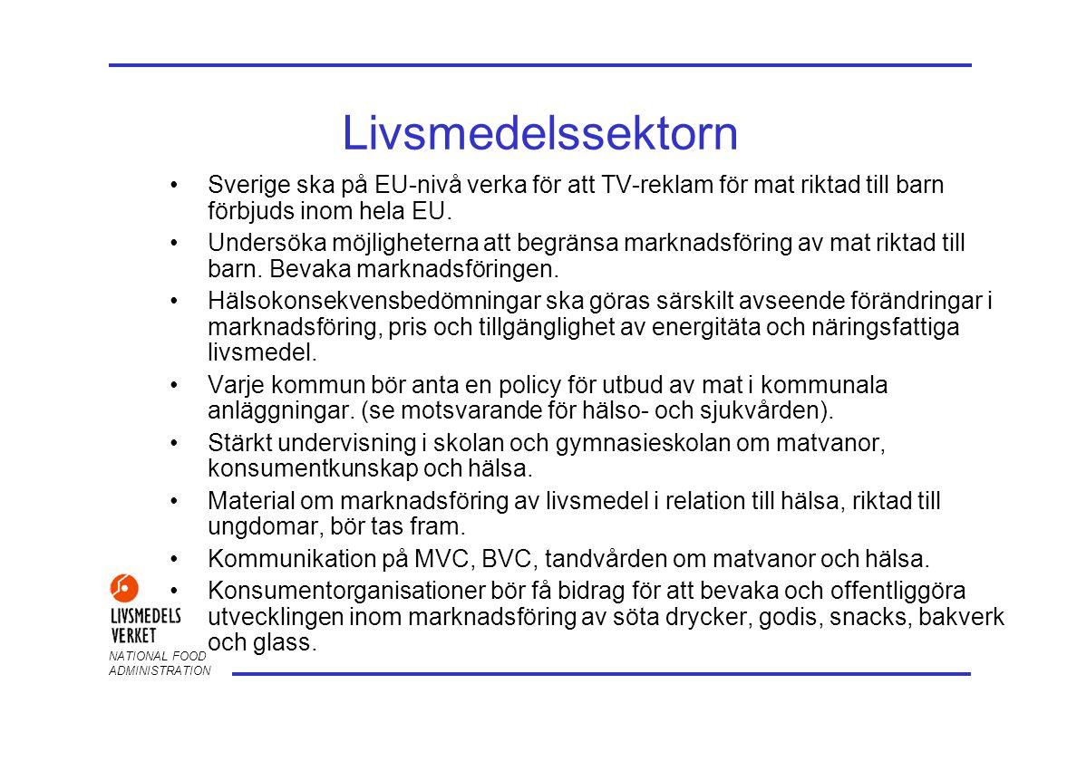 Livsmedelssektorn Sverige ska på EU-nivå verka för att TV-reklam för mat riktad till barn förbjuds inom hela EU.