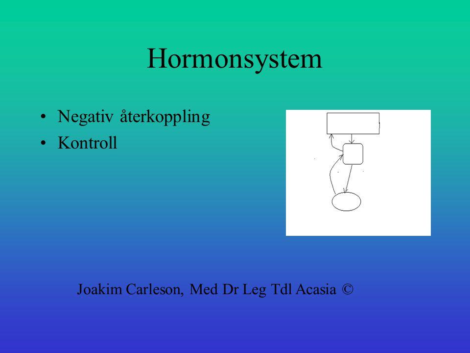Hormonsystem Negativ återkoppling Kontroll
