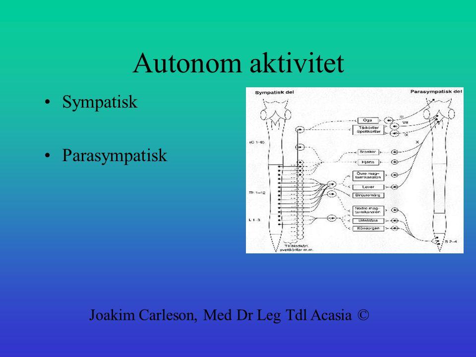 Autonom aktivitet Sympatisk Parasympatisk