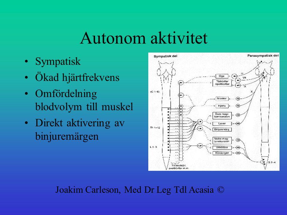 Autonom aktivitet Sympatisk Ökad hjärtfrekvens