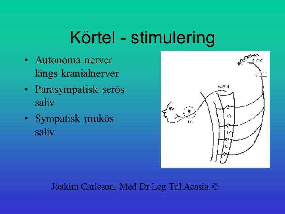 Körtel - stimulering Autonoma nerver längs kranialnerver