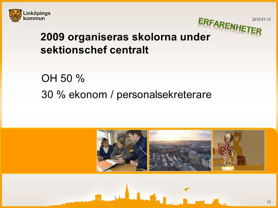 2009 organiseras skolorna under sektionschef centralt