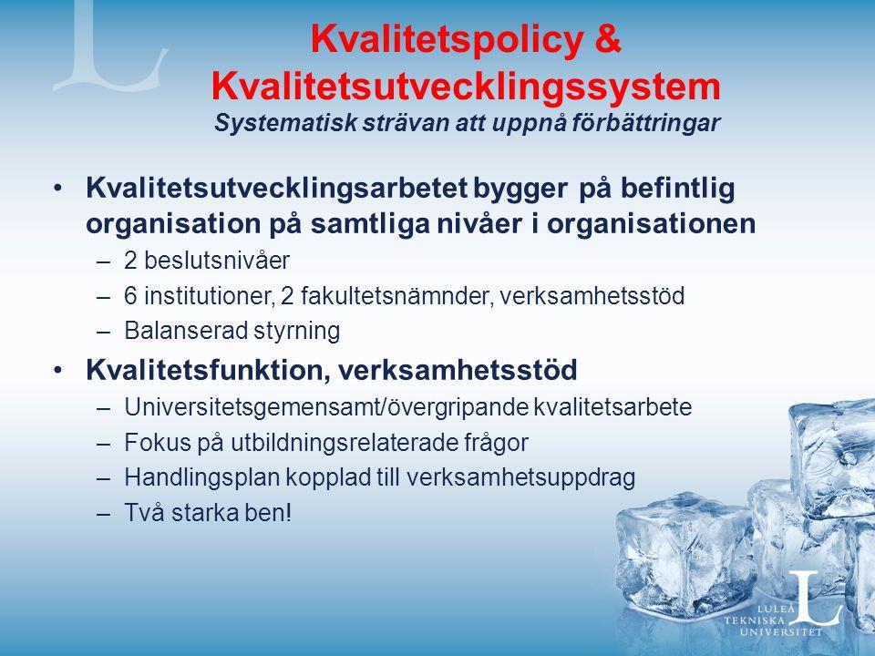 Kvalitetspolicy & Kvalitetsutvecklingssystem Systematisk strävan att uppnå förbättringar