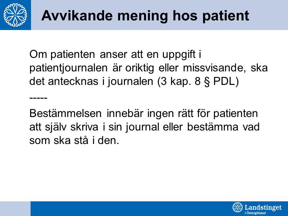 Avvikande mening hos patient