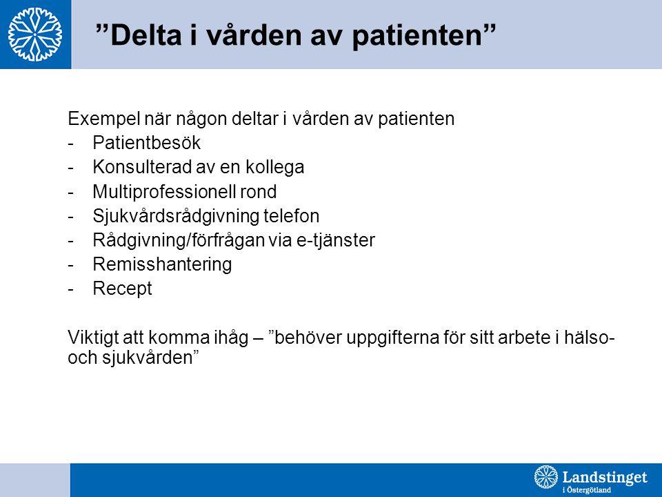 Delta i vården av patienten