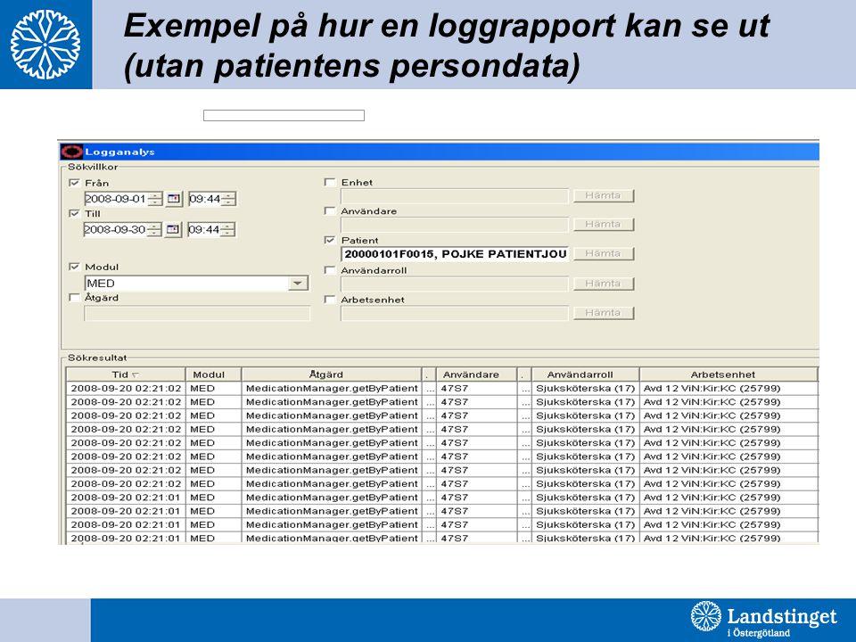 Exempel på hur en loggrapport kan se ut (utan patientens persondata)