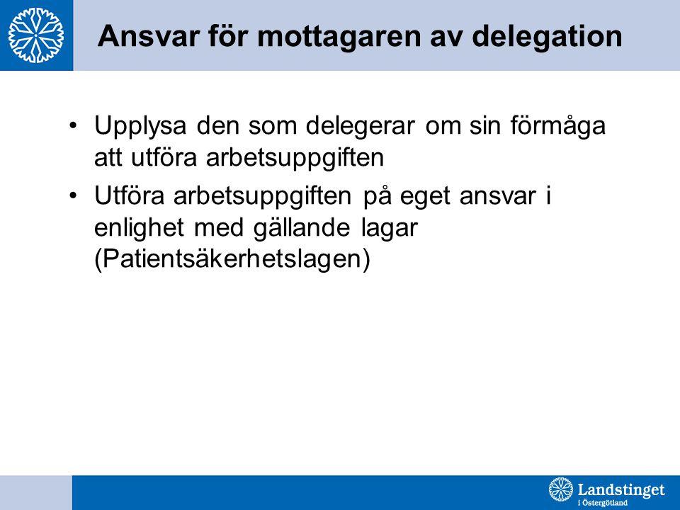 Ansvar för mottagaren av delegation