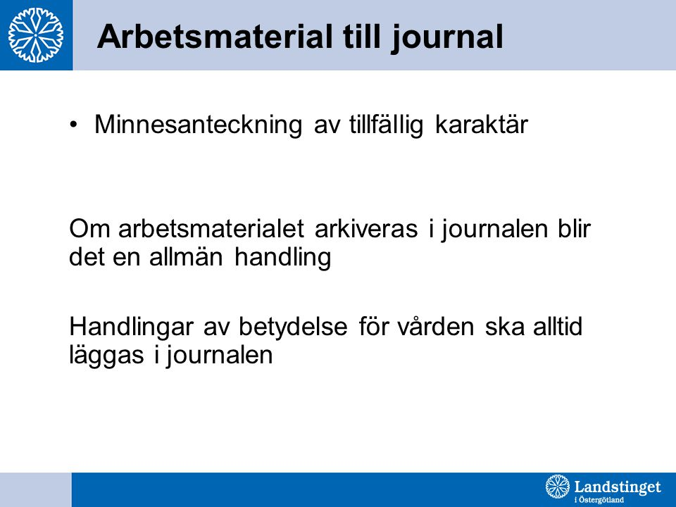 Arbetsmaterial till journal