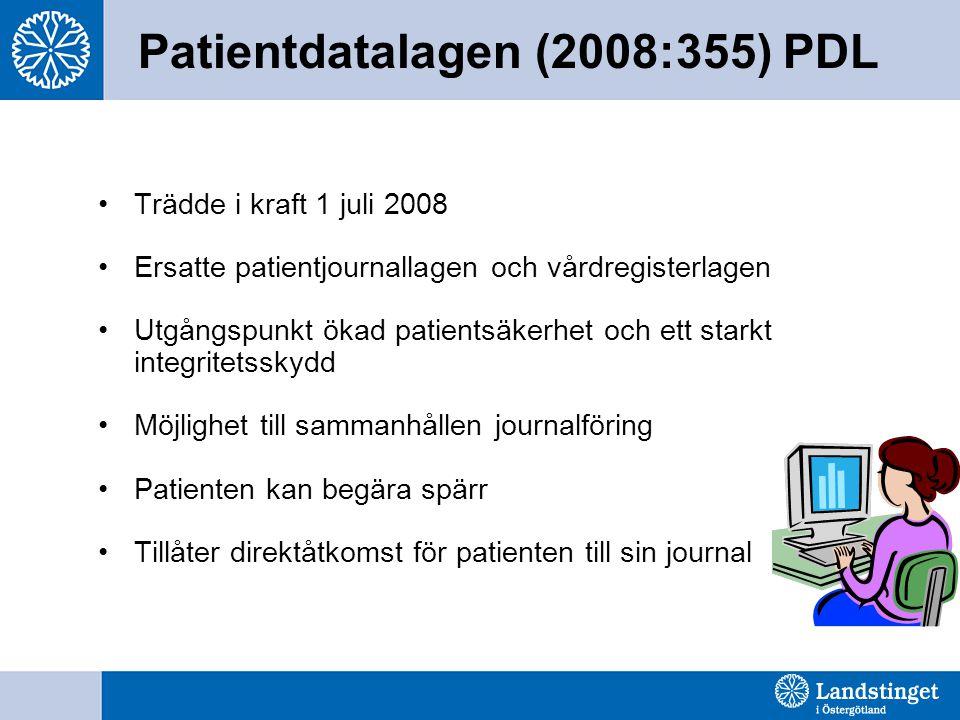 Patientdatalagen (2008:355) PDL