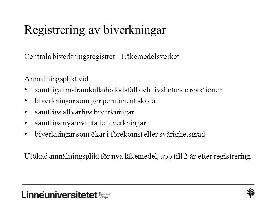Registrering av biverkningar