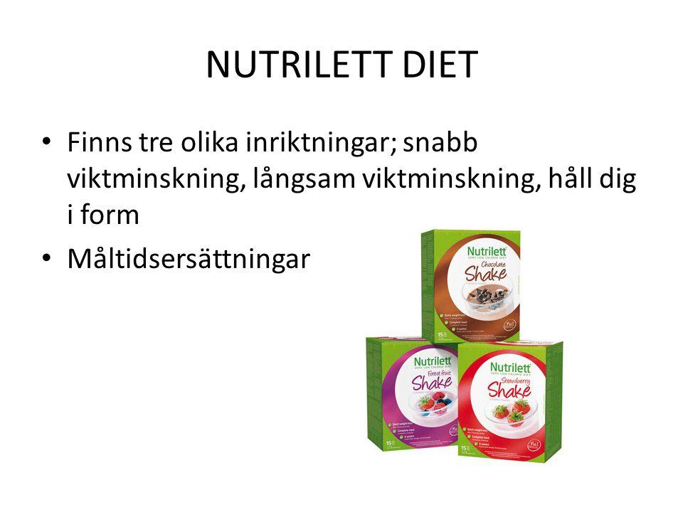 NUTRILETT DIET Finns tre olika inriktningar; snabb viktminskning, långsam viktminskning, håll dig i form.