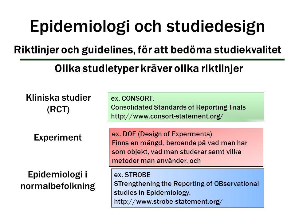 Epidemiologi och studiedesign