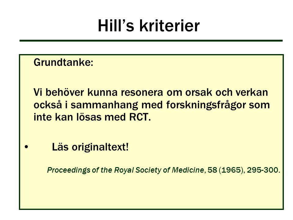 Hill's kriterier Grundtanke: