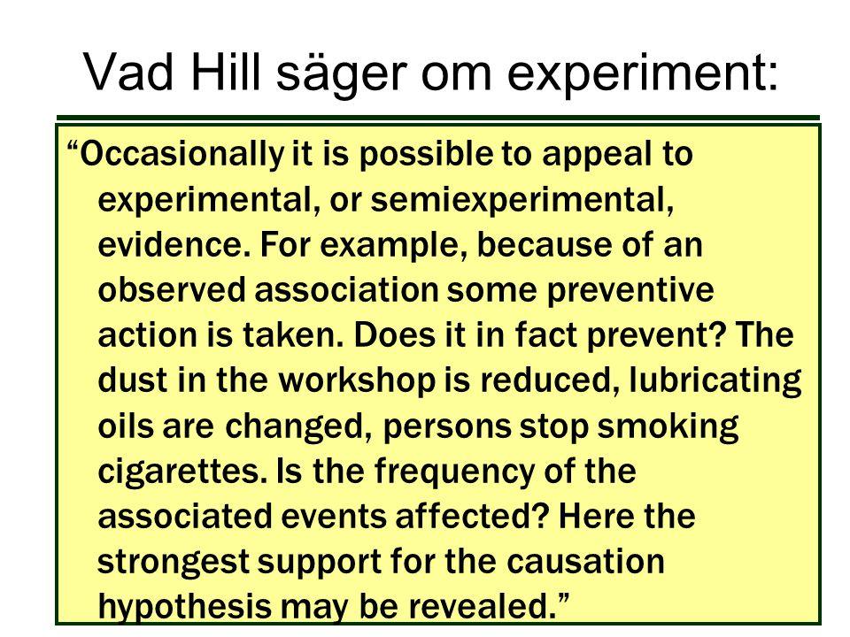 Vad Hill säger om experiment: