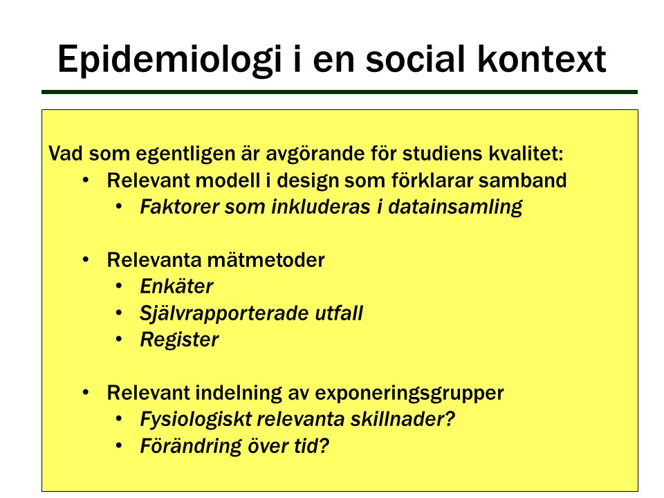 Epidemiologi i en social kontext