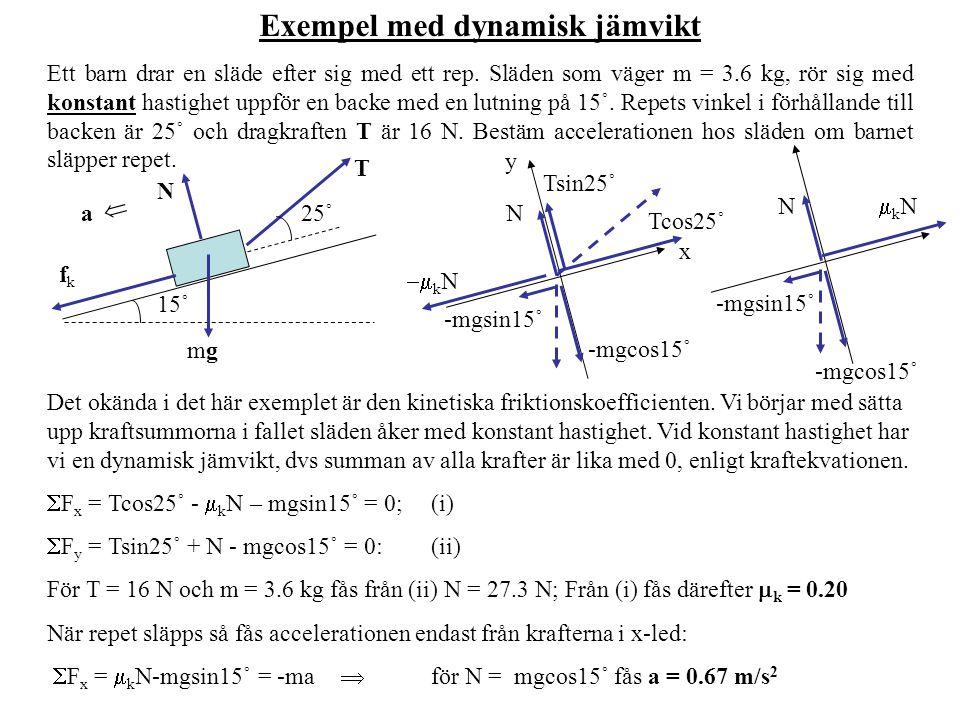 Exempel med dynamisk jämvikt