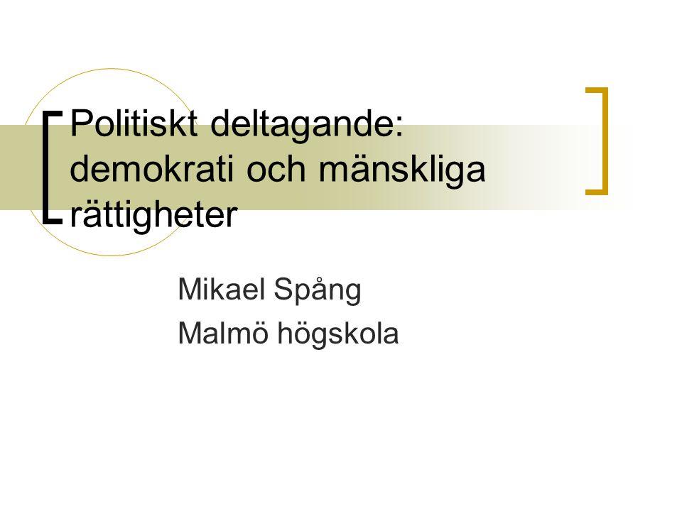 Politiskt deltagande: demokrati och mänskliga rättigheter