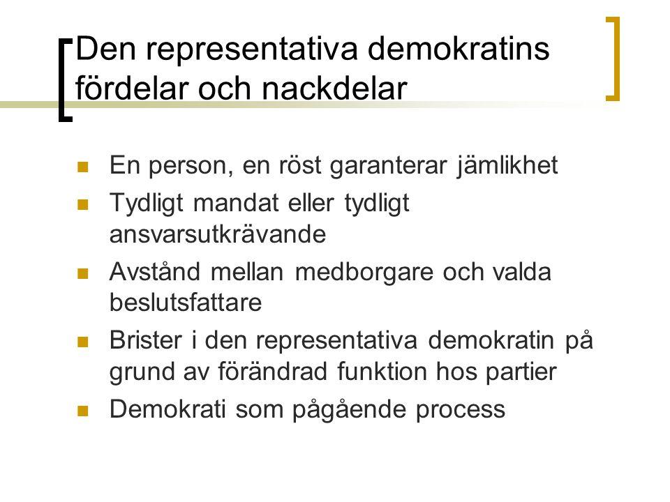 Den representativa demokratins fördelar och nackdelar