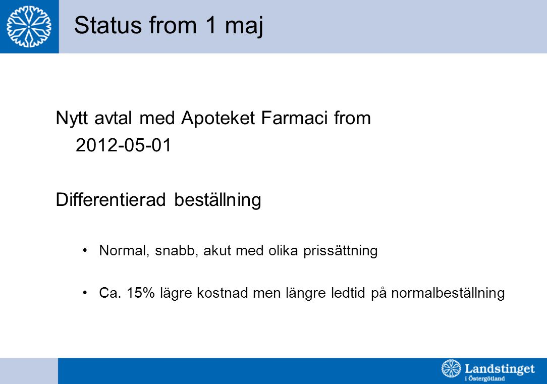 Status from 1 maj Nytt avtal med Apoteket Farmaci from 2012-05-01