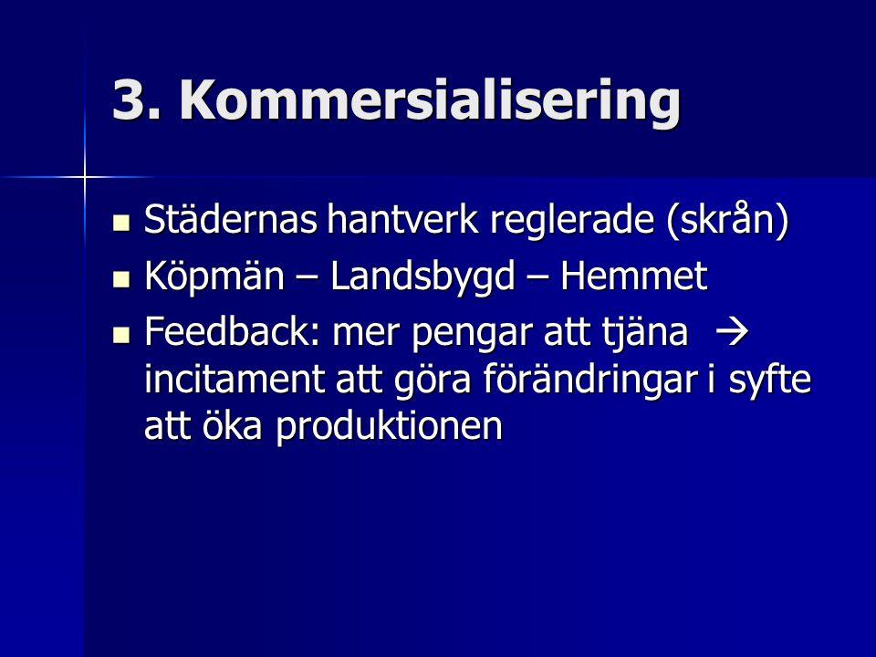 3. Kommersialisering Städernas hantverk reglerade (skrån)