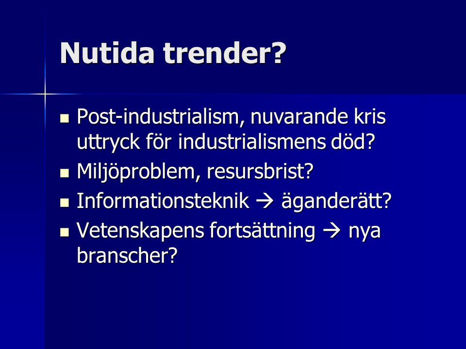 Nutida trender Post-industrialism, nuvarande kris uttryck för industrialismens död Miljöproblem, resursbrist